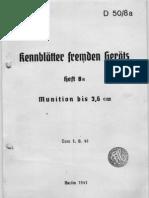 D.50-8a Kennblätter fremden Geräts Munition bis 3,6 cm - 01.08.1941