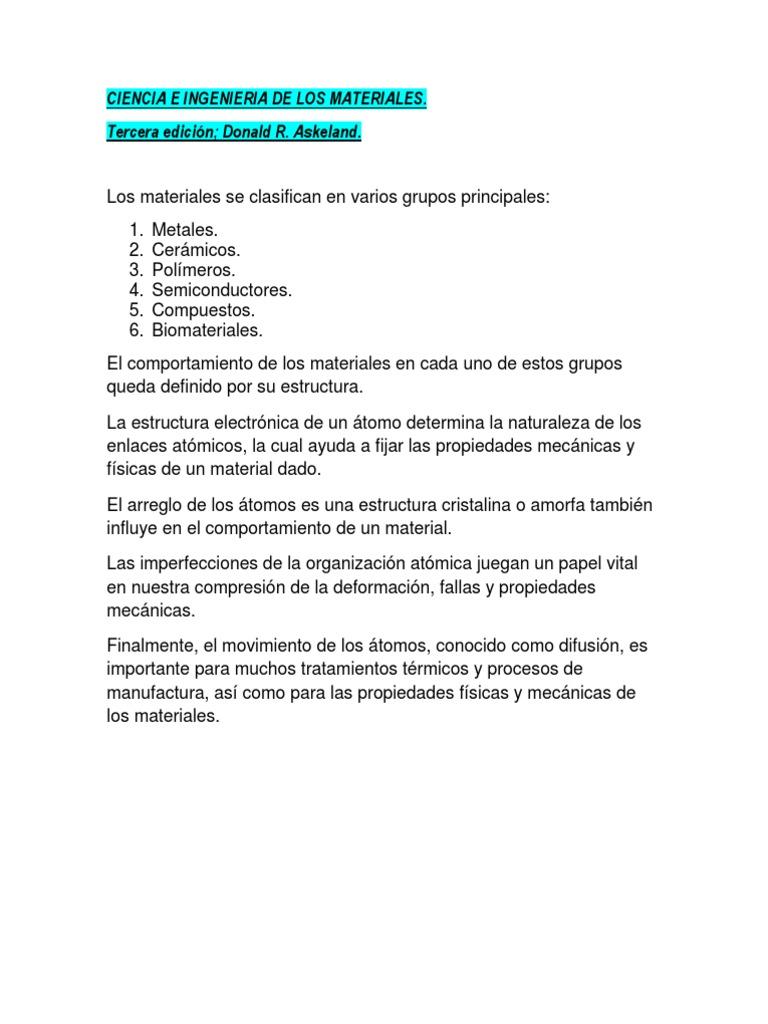 Apuntes De Estructura De Los Materiales
