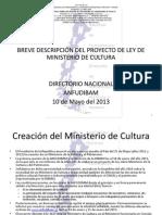 BREVE DESCRIPCIÓN DEL PROYECTO DE LEY DE MINISTERIO