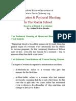 Menstruation & Postnatal Bleeding in the Maliki School (by Abdus Shakur Brooks) (1)