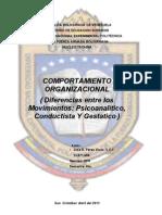 Diferencia Entre Movimiento Psicoanalitico, Gestatico, Conductivista