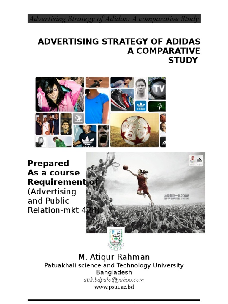 Advertising Strategy Of Adidas A Comparative Study Adidas Brand