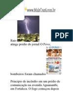 Raio atinge sede do Jornal Opovo - Principio de Incendio