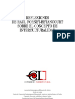 Fornet Betancourt Concepto de Interculturalidad