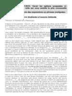 Lettre d'une étudiante à François Hollande + corrigé
