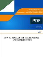 2012 RB the Single Minded Value Proposition Marketing Concept-workshop