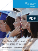 The State of University Policy for Progress in Europe