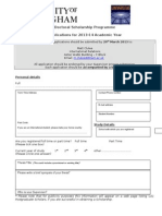2013 14 Application Form U21 PhD Scholarship
