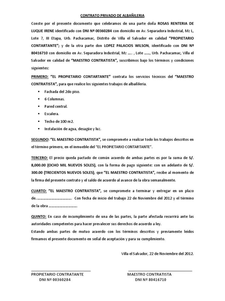 Contrato Privado De Alba Ileria