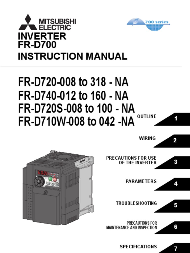 Mitsubishi D700 Variable Frequency Drive Instruction Manual Power Vfd Drives Wiring Diagram Inverter Supply