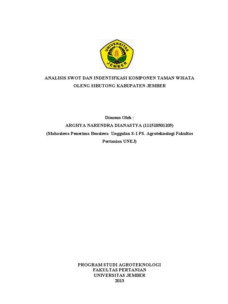 Analisis Swot Dan Identifikasi Komponen Taman Wisata Oleng Sibutong