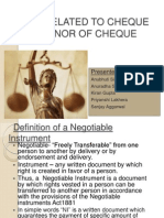 Laws Related to Cheque & Dishonor of Cheque