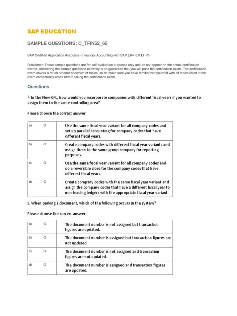Training sap Com v2 Uploads C TFIN52 65 Sample Questions | Test