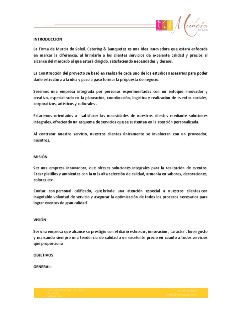 Proyecto final catering for Proyecto restaurante pdf
