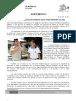 28/04/11 Germán Tenorio Vasconcelos MANTIENE SSO VIGILANCIA EPIDEMIOLÓGICA POR CÓLERA