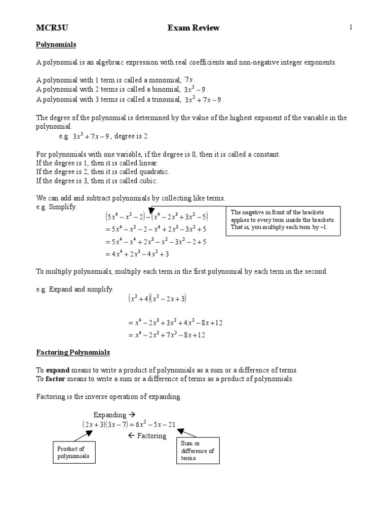 Grade 11 Functions EXAM REVIEW Trigonometric Functions – Function Review Worksheet
