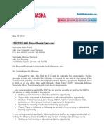 Public Records Request Letter to Nebraska State Patrol and Nebraska Attorney General Jon Bruning