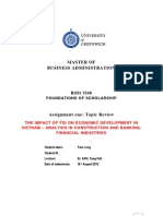 BUSI 1546 FOUNDATIONS OF SCHOLARSHIP ASSIGNMNET ONE TOPIC REVIEW - THE IMPACT OF FDI ON ECONOMIC DEVELOPMENT IN VIETNAM – ANALYSIS IN CONSTRUCTION AND BANKING-FINANCIAL INDUSTRIES
