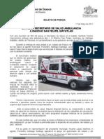 17/05/11 Germán Tenorio Vasconcelos  Secretario de Salud entrega Ambulancia a Rancho San Felipe Matatlan