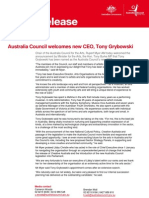 Media Release - Australia Council Welcomes New CEO, Tony Grybowski - 16 May 2013