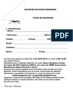 Ficha de Inscrição Povos Indígena