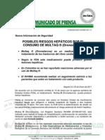 Comunicado Invima 001 11 Posibles Riesgos Hep Ticos Por El Consumo de Multaq (Dronedarona)