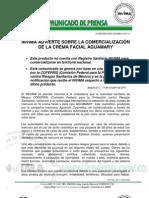 Comunicado Invima 019 11 Invima Advierte Sobre La Comercializacion de La Crema Facial Aguamary