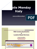 2005-05-02 RSS content syndication. Location based services - Giovanni Guardalben - HiT Internet Technologies
