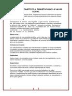 Indicadores Objetivos y Subjetivos de La Salud Social