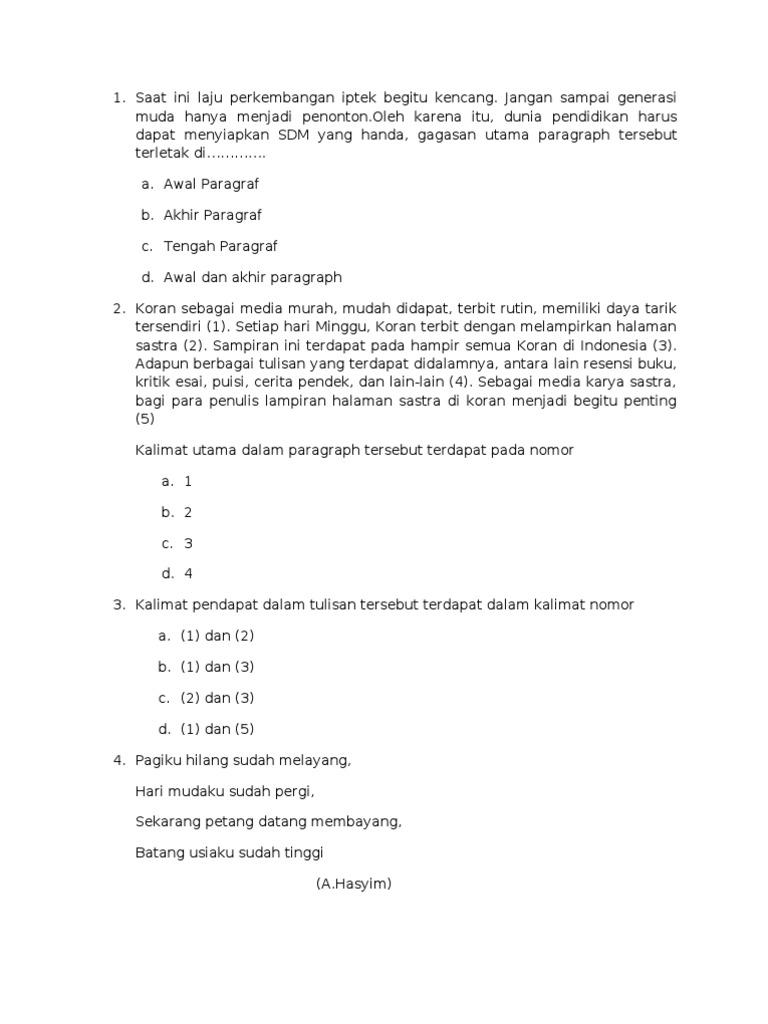 Soal Bahasa Indonesia Olimpiade