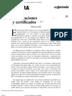 La Jornada_ Falsificaciones y Certificados