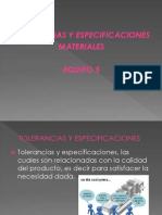 Diapositivas de Tolerancias y Especificaciones