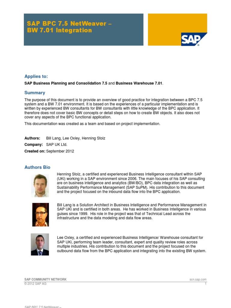 SAP BPC 7.5 NetWeaver - BW 7.01 Integration.pdf | Microsoft Excel ...
