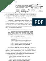 COMELEC Minute Resolution No. 13-0289 - Correction to Com Res 9640 (GI BEI)