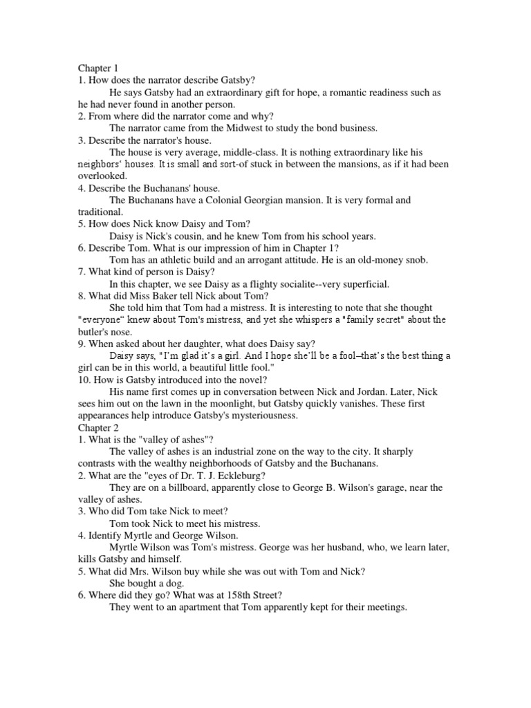 the great gatsby questions answers chapter 1 5 the great gatsby rh scribd com great gatsby chapter 1 study guide questions answers great gatsby study guide questions and answers pdf