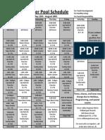 Summer Pool Schedule