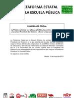 Nota de Prensa Plataforma Estatal Por La Escuela Publica