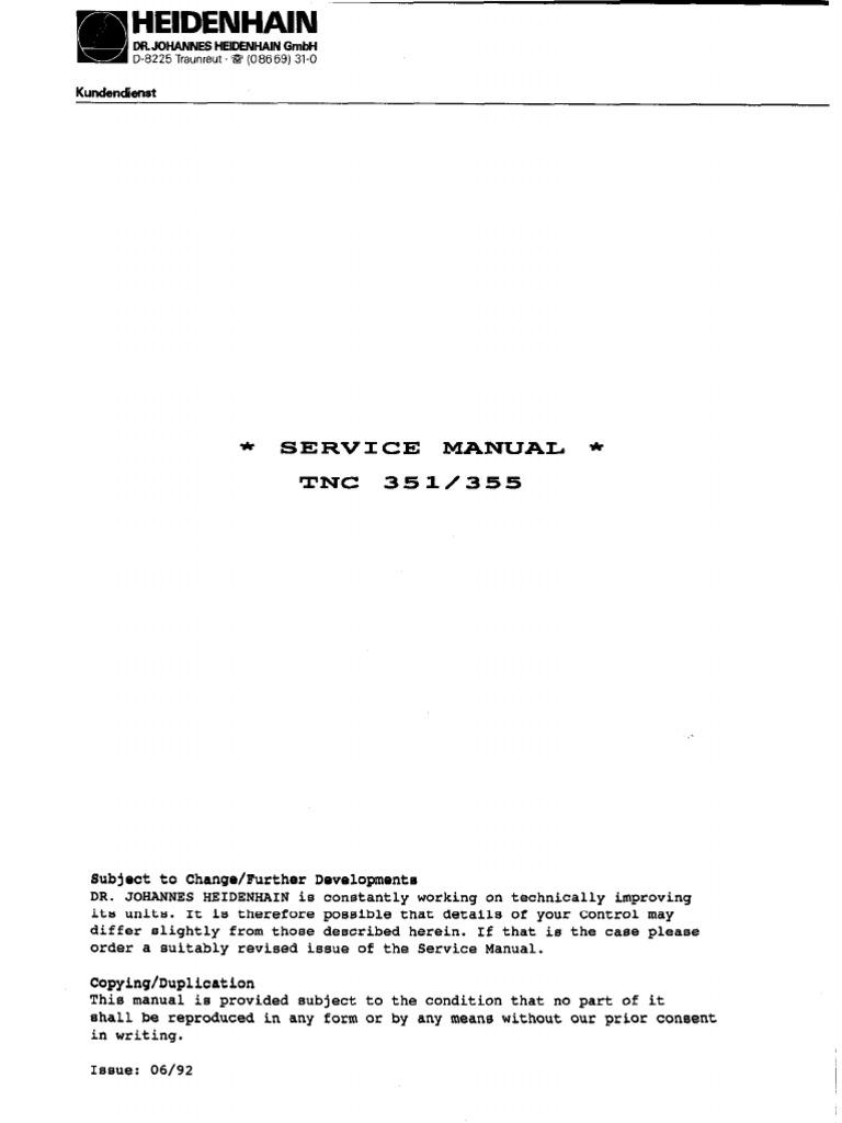 Heidenhain TNC 351- 355 Service Manual | Electrical Engineering |  Electronic Engineering