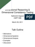Dimensional Reasoning and Dimensional Homogeneity Testing