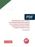 Propuesta de UGT y CCOO al Gobierno de Mariano Rajoy para la creación de empleo y la reactivación de la economía
