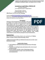 Environ Law & Policy Syllabus