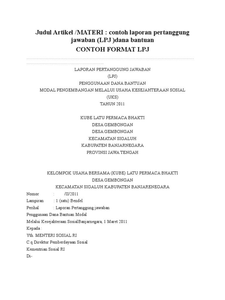 Contoh Lpj Dana Bantuan Rtf