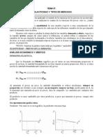Tema 5 Elasticidad y Tipos de Mercado
