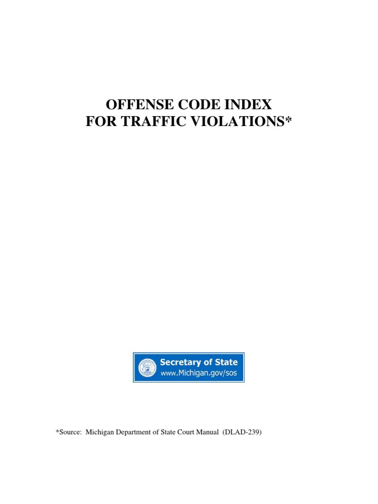 Offense Code Index For Traffic Violations Traffic Traffic Light