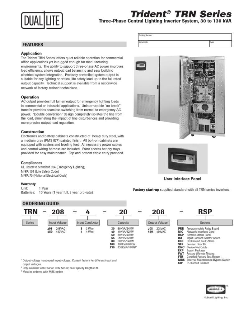 Trn Spec Sheet Electrical Wiring Power Inverter Harness Construction