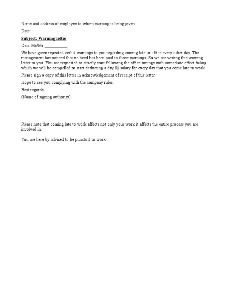 Warning letter for late coming altavistaventures Choice Image