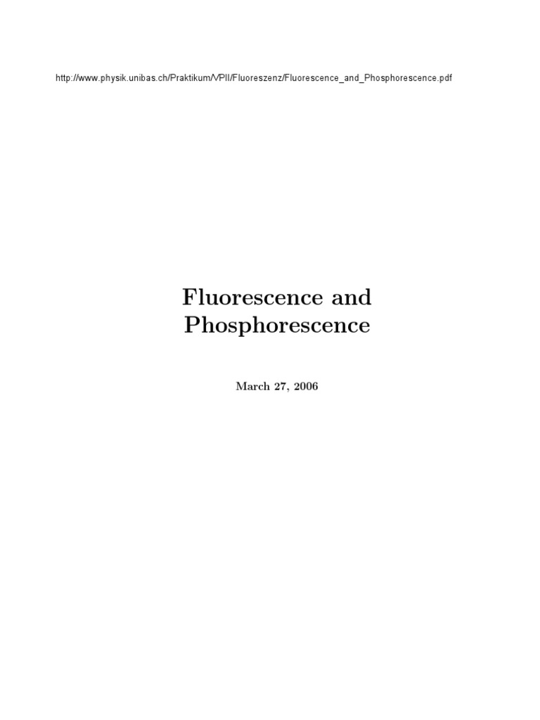 Fluorescence And Phosphorescence Energy Level Emission Spectrum