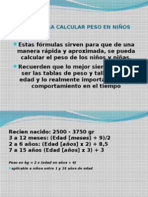 tabla de peso y talla ideal por edad