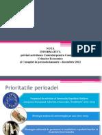 NOTĂ   INFORMATIVĂ   privind activitatea Centrului pentru Combaterea Crimelor Economice şi Corupţiei în perioada ianuarie - decembrie 2012