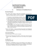7ª Lista de Exercícios Estatística - Eng. civil